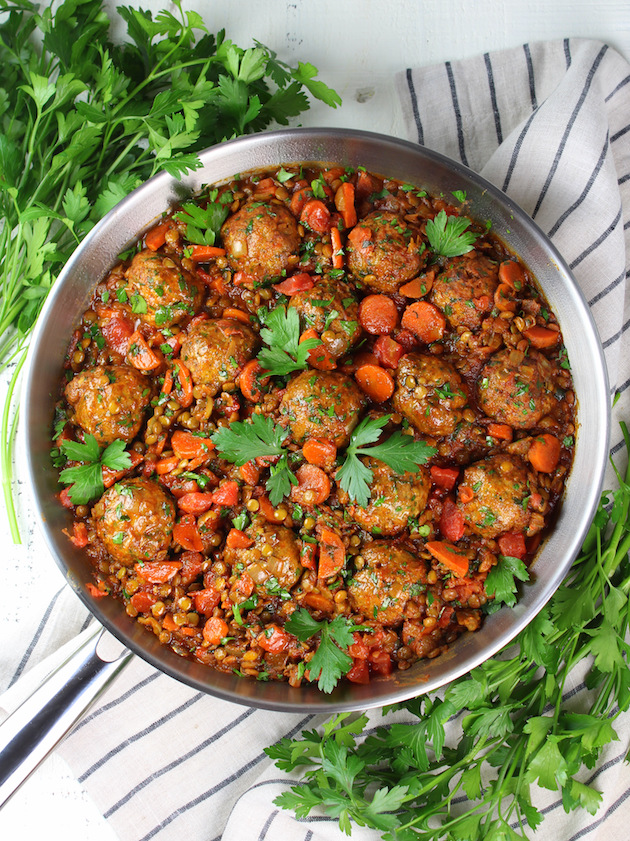 Moroccan lentils and ground turkey meatballs in skillet