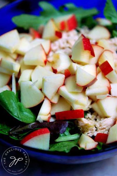 An up close shot of this Chicken Apple Salad recipe shows the chunks of apple nearly covering the chicken and lettuce below. The dish looks (and is!) refreshing and healthy.