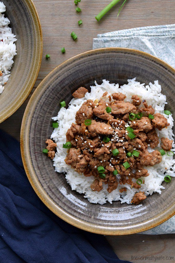 Korean spiced ground turkey and white rice in a bowl
