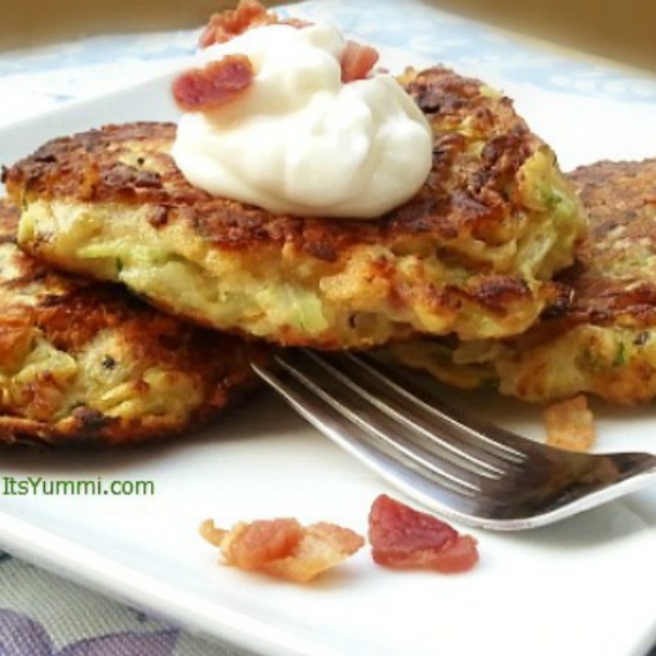 stack of potato pancakes made with zucchini and bacon