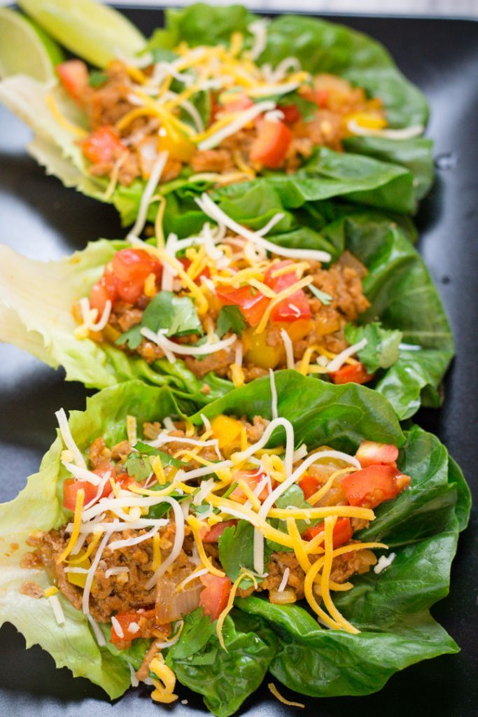 turkey taco lettuce wraps on platter