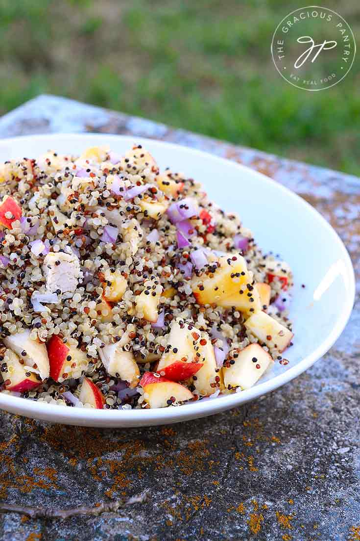 A bowl of this Apple Quinoa Salad With Chicken sits on a stone bench with grass in the background. You can see the quinoa, apples and chunks of chicken.