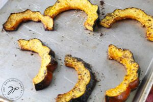 Step eight is to remove the squash from the oven.