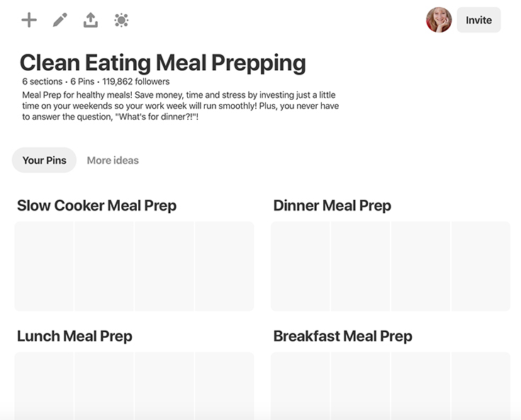 How To Meal Prep On Pinterest - What the sections look like once created.