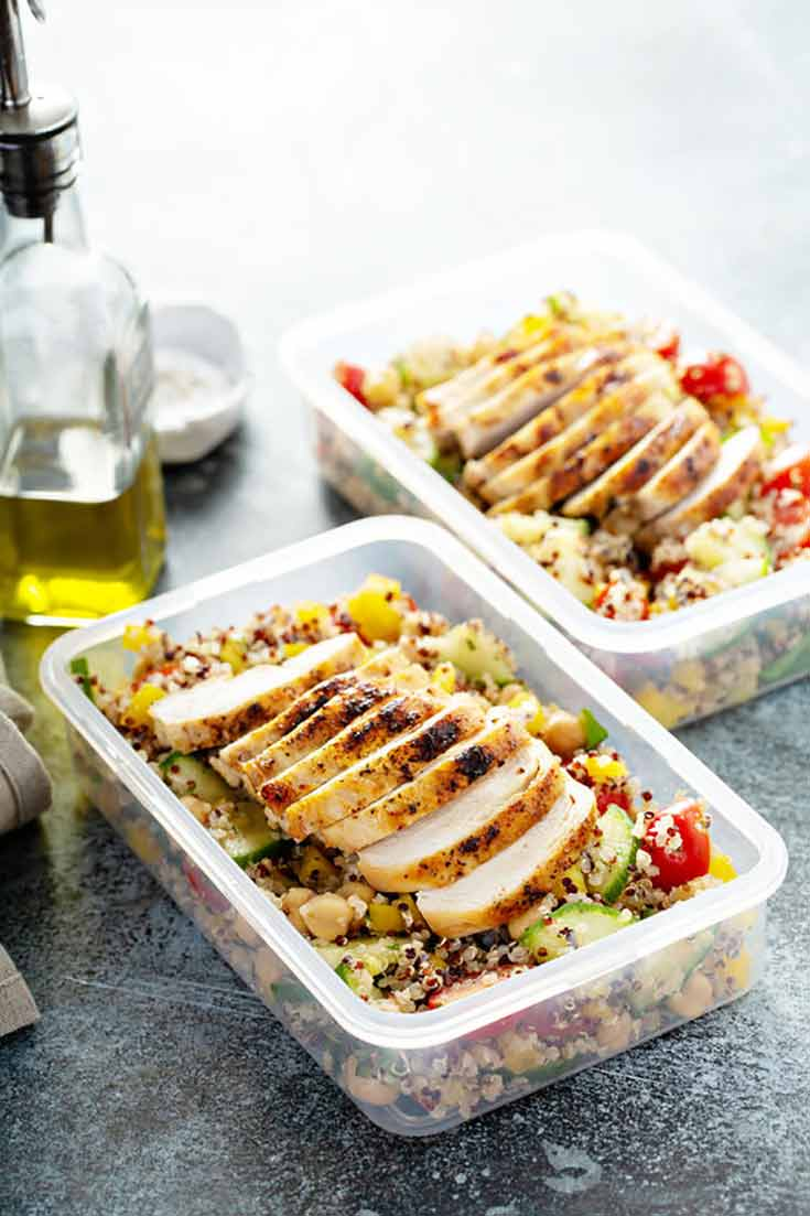 Two prepped meals sit ready to enjoy in this guide for How To Meal Prep.