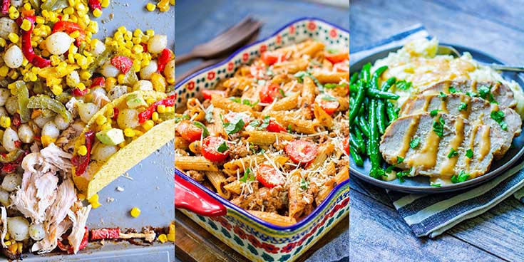 Three Dinners Meal Prep Plan includes baked ziti, slow cooker pork loin and a sheet pan Mexican dinner.