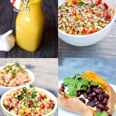 Meal Prep Lunches - Four images of each of the meals and dressing used in this meal prep plan.