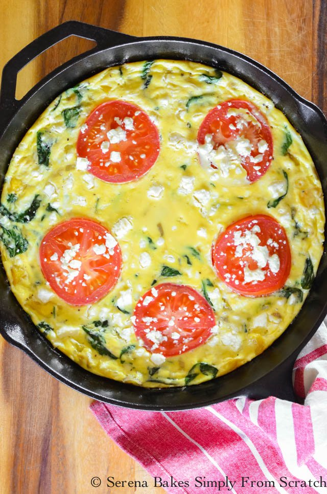 Feta Spinach Tomato Frittata in this guide to 15 Clean Eating Easter Recipes