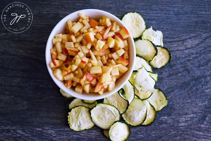 And overhead view of this apple salsa with zucchini chips, ready to serve.