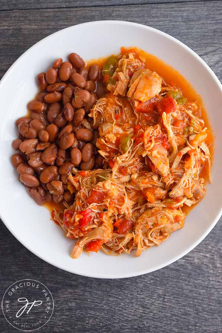 Pinto beans make a perfect side dish for this Chicken Ropa Vieja Recipe.
