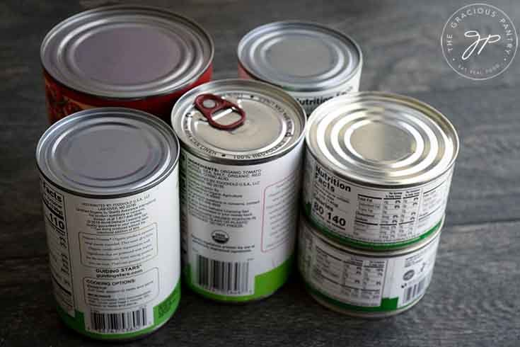 A group of cans from the pantry.