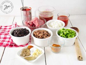 Step one of this Beef Chili Recipe is to gather all your needed ingredients.