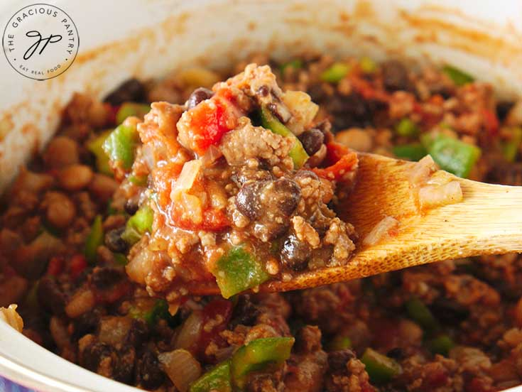 Cook this beef chili recipe for 45 minutes, then adjust seasonings as needed.
