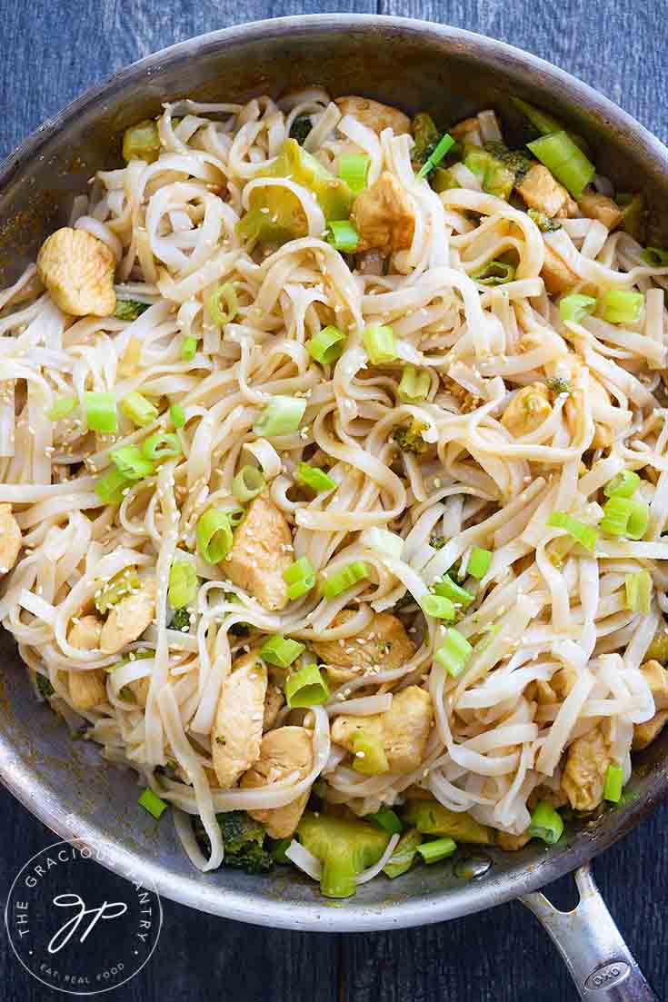 An overhead view of this Easy Teriyaki Chicken made with rice noodles.