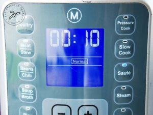 Select the Sauté function and set time to 10 minutes.