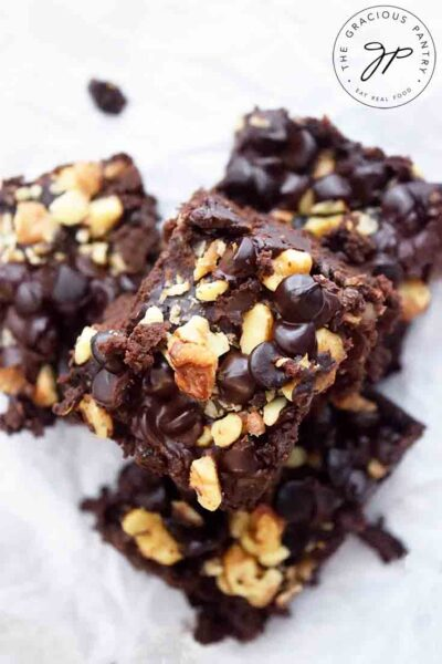 An overhead view of a stack of these Black Bean Brownies.