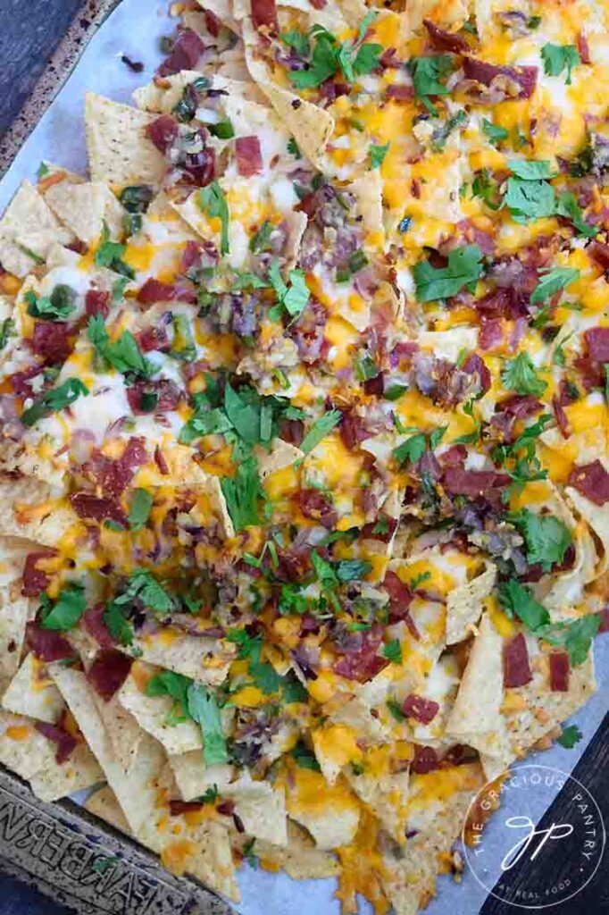 An overhead view of these Bacon Jalapeno Nacho.