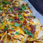A side view of the finished nachos.