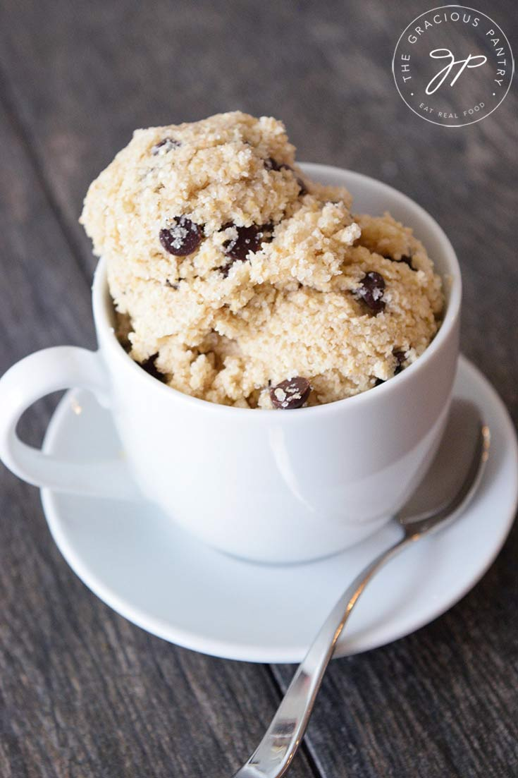 Sideview of Edible Cookie Dough in a tea cup.