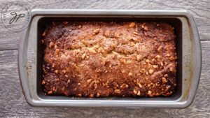 Just baked apple bread, hot out of the oven and still in the loaf pan.
