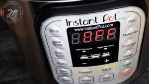 Setting the time on the Instant Pot.