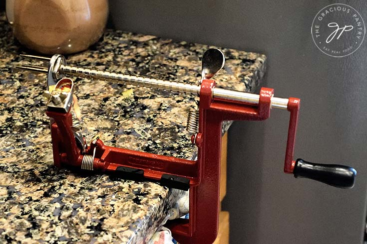 Photo of the apple peeler I used to peel, core and slice the apples.