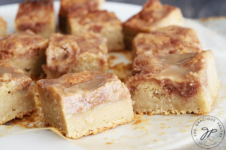 Cut coffee cake on a serving platter, ready to serve.