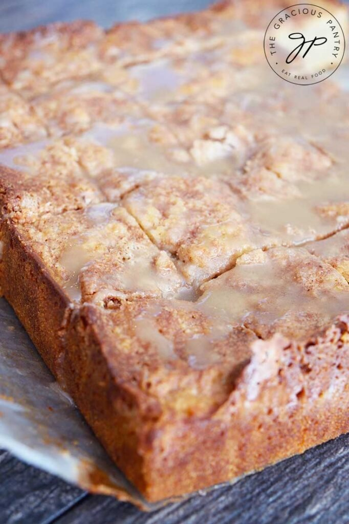 Cut coffee cake from the side.