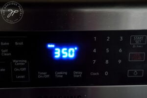 Oven temperature sent to 350 F.
