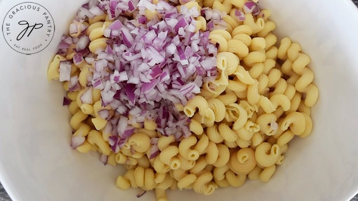 Onions added to the pasta.