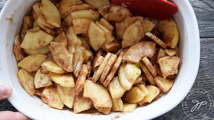Cut apples mixed with other filling ingredients.