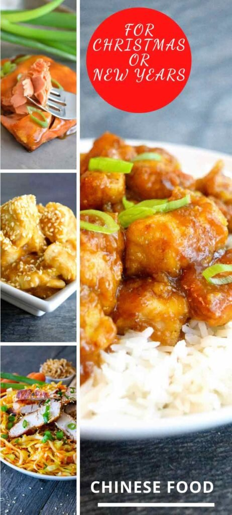 Chinese Christmas Food Recipe Collage and Pinterest Graphic