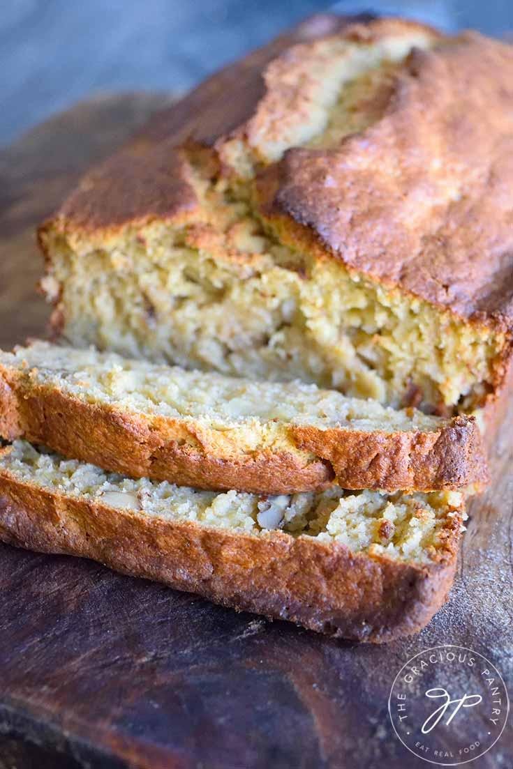 An up close shot of sliced oat flour banana bread.
