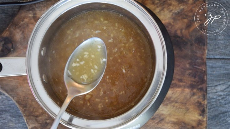 The thickened gravy after bringing it to a boil.