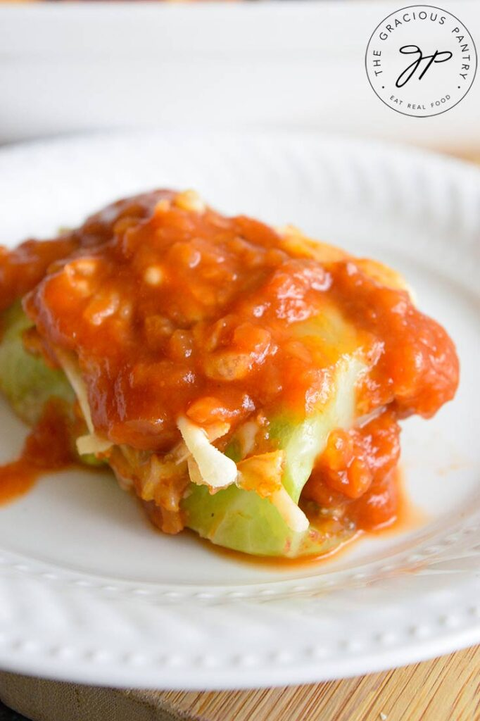 Mexican Cabbage Rolls. A single roll on a white place with salsa over the top.