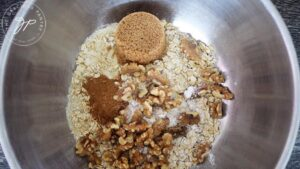 All the dry ingredients for this Breakfast Cookies Recipe in a mixing bowl.