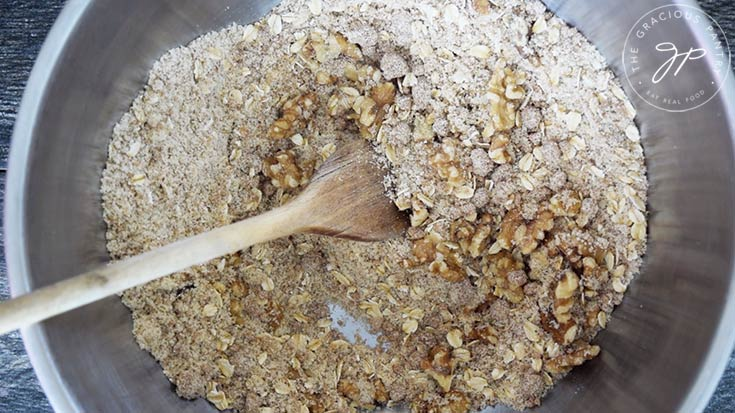 The dry ingredients for this Breakfast Cookies Recipe, mixed together.