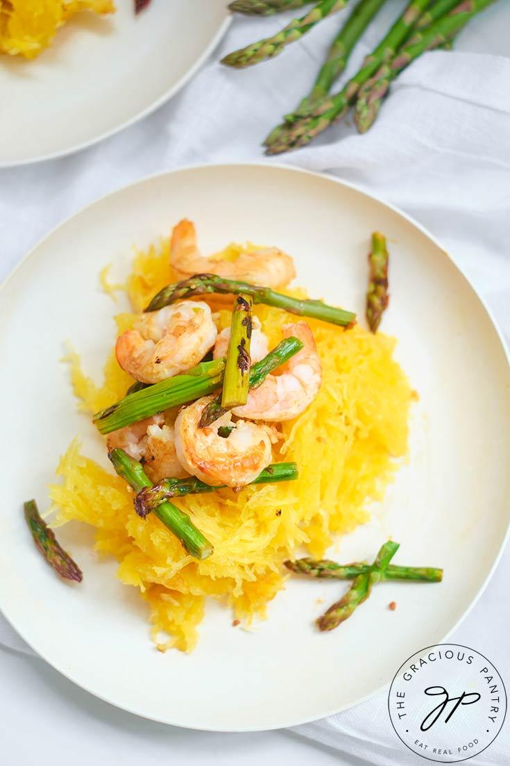 Shrimp And Asparagus Spaghetti Squash Spaghetti Recipe