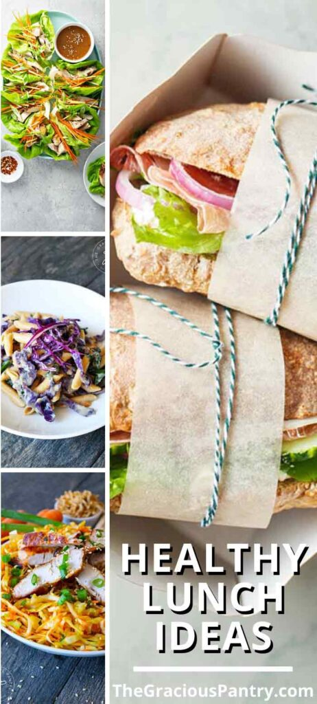 Healthy Lunches that are easy to make, budget friendly and taste great eveyr time! This collage of lunch ideas show a sandwich, a platter of lettuce wraps, a bowl of pasta and a Chinese chicken salad.