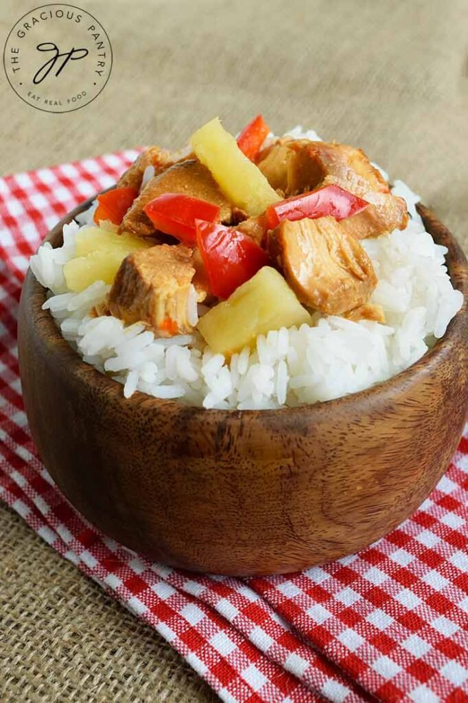 And up close shot of this Slow Cooker Pineapple Chicken being served over rice.
