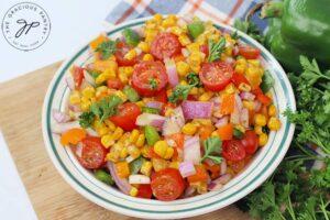 The finished Cajun Corn Salad Recipe.