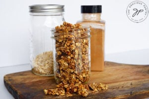The finished granola in a canning jar.