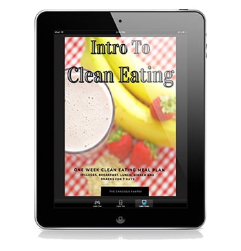 The cover of this Intro To Clean Eating Meal Plan, displayed on a black iPad.