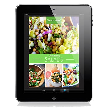 The cover of this Clean Eating Salads eCookbook shown on an iPhone.