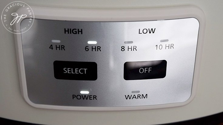 The crock pot set to low heat at 6 hours.