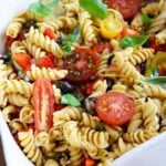 A white serving bowl filled with this Vegetable Pasta Salad Recipe.