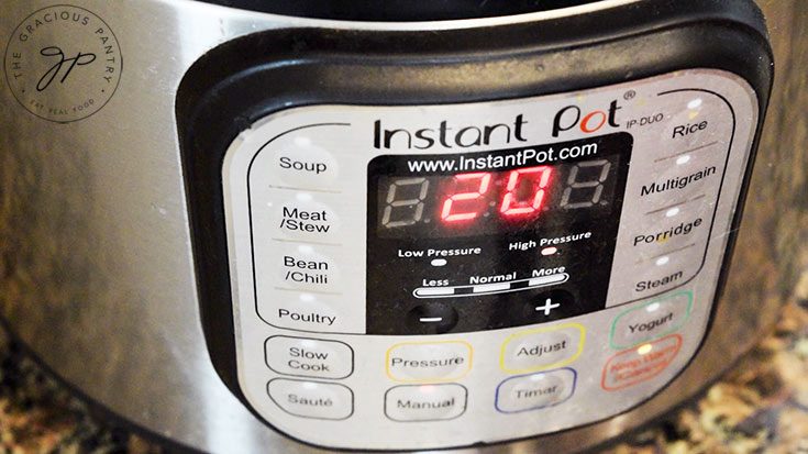 The time on the instant pot set to high pressure for 20 minutes.