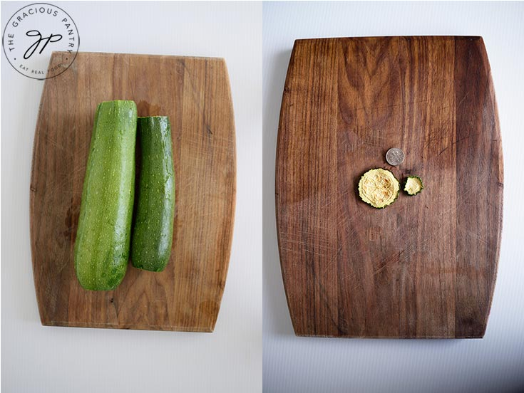 Two photos, side by side, showing two sizes of zucchini and what size the chips are when dehydrated. A dime sits above the dry slices to show size.