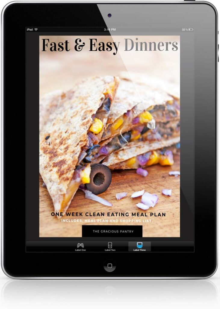Fast & Easy Dinners Meal Plan cover displayed on a black iPad.