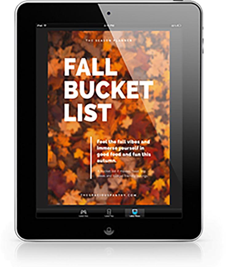 Fall Bucket List Cover displayed on a black iPad.